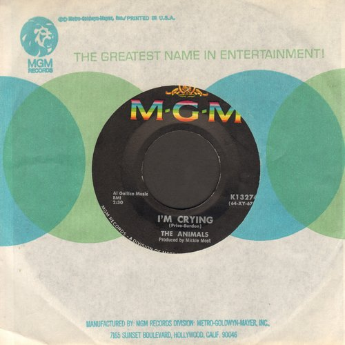 Animals - I'm Crying/Take It Easy Baby (with MGM company sleeve) - EX8/ - 45 rpm Records