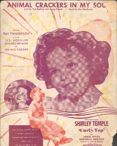 Temple, Shirley - Animal Crackers In My Soup - Vintage SHEET MUSIC for the Shirley Temple Classic. BEATIFUL coverart of the legendary Child Star! - VG6/ - Sheet Music