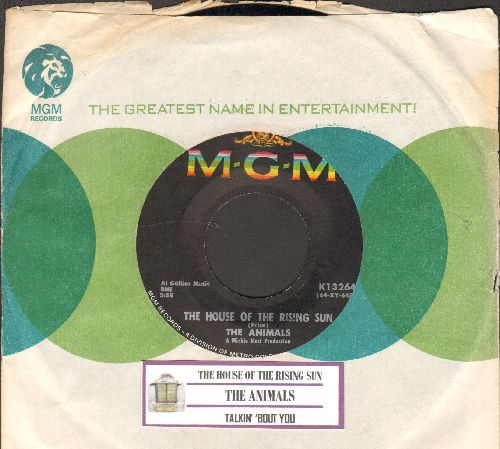 Animals - The House Of The Rising Sun/Talkin' 'Bout You (with juke box label and MGM company sleeve) - NM9/ - 45 rpm Records