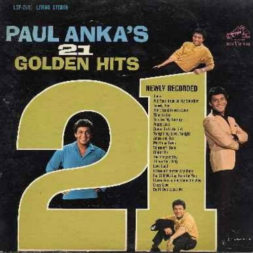 Anka, Paul - Paul Anka's 21 Golden Hits (Original 1963 first issue  - vinyl STEREO LP record): Diana, Put Your Head On My Shoulder, Lonely Boy, Time To Cry, Puppy Love, Adam And Eve, Dance On Little Girl, The Longest Day - NM9/EX8 - LP Records