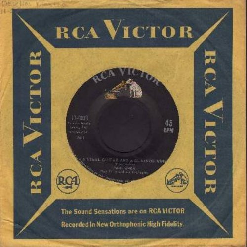 Anka, Paul - A Steel Guitar And A Glass Of Wine/I Never Knew Your Name (with vintage RCA company sleeve) - EX8/ - 45 rpm Records