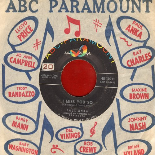 Anka, Paul - I Miss You So/Late Last Night (with vintage ABC-Paramount company sleeve) - EX8/ - 45 rpm Records