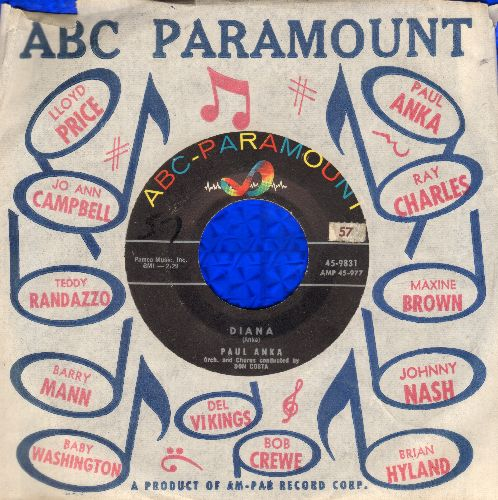 Anka, Paul - Diana/Don't Gamble With Love (with vintage ABC-Paramount company sleeve) - VG7/ - 45 rpm Records