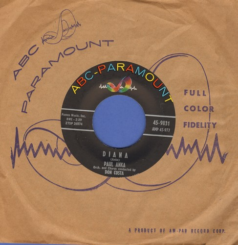 Anka, Paul - Diana/Don't Gamble With Love (with vintage ABC-Paramount company sleeve) - NM9/ - 45 rpm Records