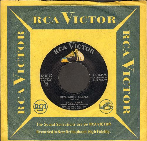 Anka, Paul - Remember Diana/At Night (with vintage RCA company sleeve) - NM9/ - 45 rpm Records