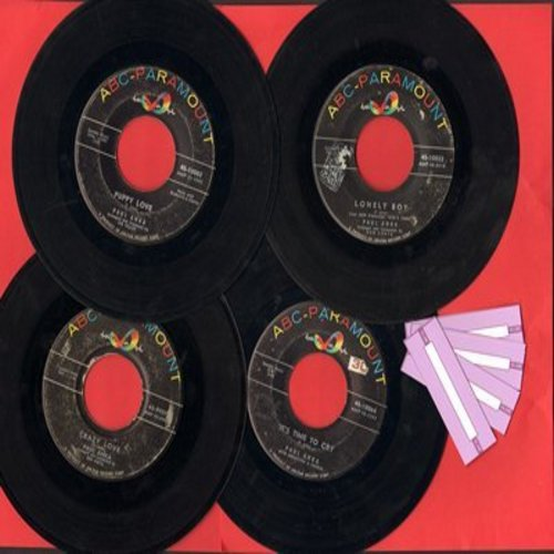 Anka, Paul - Paul Anka vintage 45s 4-Pack. Hits include Lonely Boy, Puppy Love, Crazy Love and It's Time To Cry. GREAT for a juke box! - VG7/ - 45 rpm Records