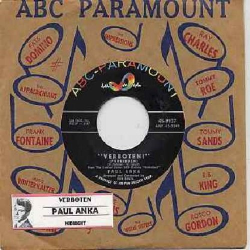 Anka, Paul - Verboten! (Forbidden)/Midnight (with vintage ABC-Paramount company sleeve) - NM9/ - 45 rpm Records
