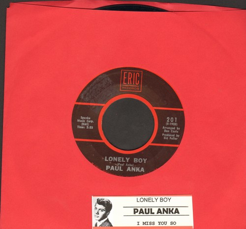 Anka, Paul - Lonely Boy/I Miss You So (early double-hit re-issue with juke box label) - NM9/ - 45 rpm Records