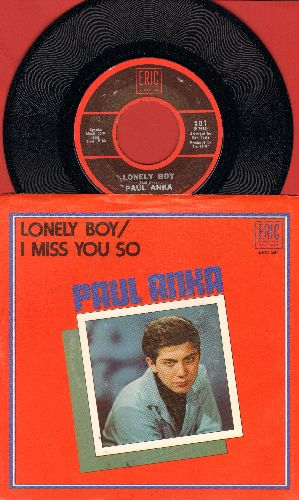 Anka, Paul - Lonely Boy/I Miss You So (early double-hit re-issue with picture sleeve) - NM9/NM9 - 45 rpm Records