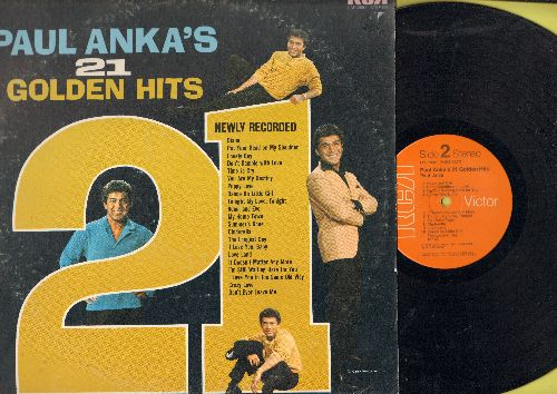 Anka, Paul - Paul Anka's 21 Golden Hits: Diana, Put Your Head On My Shoulder, Lonely Boy, Time To Cry, Puppy Love, Adam And Eve, Dance On Little Girl, The Longest Day - NM9/VG7 - LP Records