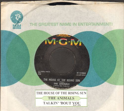 Animals - The House Of The Rising Sun/Talkin' 'Bout You (with juke box label and MGM company sleeve) - VG7/ - 45 rpm Records