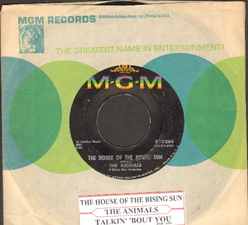 Animals - The House Of The Rising Sun/Talkin; 'Bout You (with juke box label and MGM company sleeve) - VG7/ - 45 rpm Records