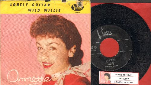 Annette - Wild Willie/Lonely Guitar (with juke box label and picture sleeve) - NM9/VG7 - 45 rpm Records