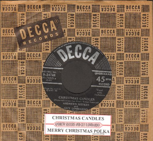 Andrews Sisters - Christmas Candels/Merry Christmas Polka (with juke box label and vintage Decca company sleeve) - EX8/ - 45 rpm Records