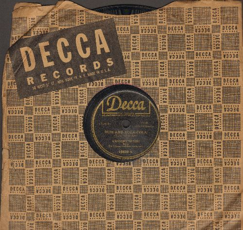 Andrews Sisters - Rum And Coca-Cola/One Meat Ball (10 inch 78 rpm with Decca company sleeve) - VG7/ - 45 rpm Records