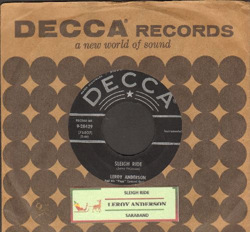 Anderson, Leroy - Sleigh Ride/Saraband (with vintage Decca company sleeve and juke box label) - EX8/ - 45 rpm Records