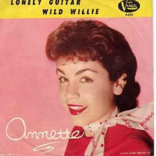 Annette - Wild Willie/Lonely Guitar (original first issue with picture sleeve) - EX8/VG7 - 45 rpm Records