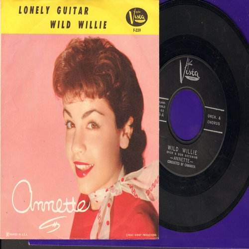 Annette - Wild Willie/Lonely Guitar (with picture sleeve, NICE condition!) - EX8/EX8 - 45 rpm Records