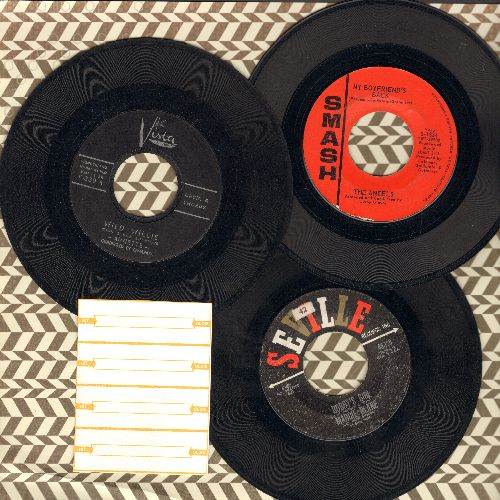 Angels, Annette, Marcie Blane - Teen Girl 3-Pack: First issue 45s includes hits My Boyfriend's Back, Wild Willie and Bobby's Girl. Shipped in plain white paper sleeves with 4 blank juke box labels. GREAT for a juke box! - EX8/ - 45 rpm Records
