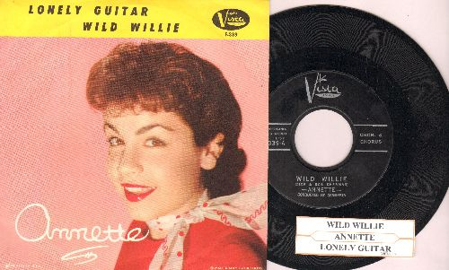 Annette - Wild Willie/Lonely Guitar (with picture sleeve and juke box label, NICE condition!) - NM9/NM9 - 45 rpm Records