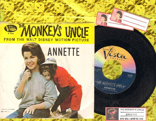Annette - The Monkey's Uncle/How Will  Know My Love (with picture Sleeve) - NM9/VG7 - 45 rpm Records