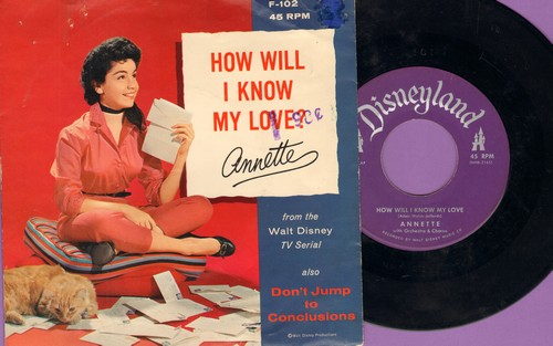 Annette - How Will I Know My Love/Don't Jump To Conclusions (Vinyl record with picture sleeve)(minor wol) - EX8/VG7 - 45 rpm Records