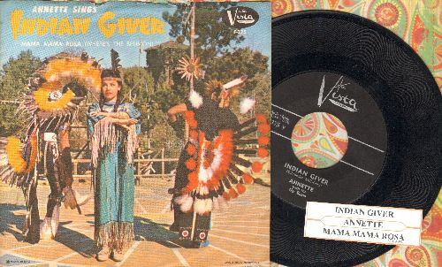 Annette - Indian Giver/Mama Rosa (Where's The Spumoni?) (with RARE picture sleeve, NICE condition) - NM9/EX8 - 45 rpm Records
