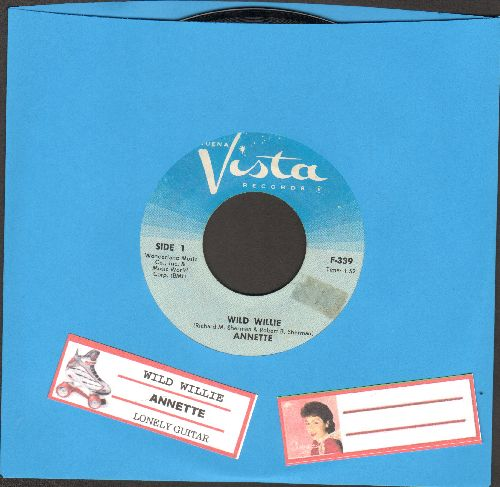 Annette - Wild Willie/Lonely Guitar (light blue label with juke box label) - NM9/ - 45 rpm Records