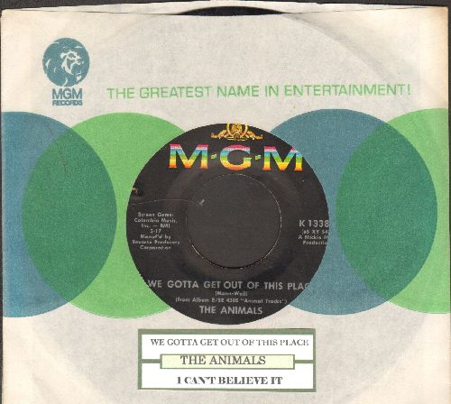 Animals - We Gotta Get Out Of This Place/I Can't Believe It (with juke box label and MGM company sleeve) - EX8/ - 45 rpm Records