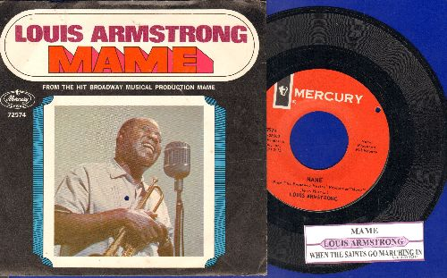Armstrong, Louis - Mame/Tin Roof Blues (with juke box label and  picture sleeve) (bb) - NM9/NM9 - 45 rpm Records