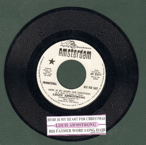 Armstrong, Louis - Here Is My Heart For Christmas/His Father Wore Long Hair (MINT condition DJ advance pressing with juke box label) - M10/ - 45 rpm Records