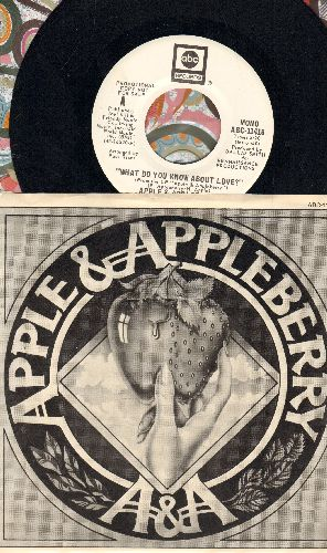 Apple & Appleberry - What Do You Know About Love? (double-A-sided DJ advance pressing with picture sleeve) - NM9/EX8 - 45 rpm Records