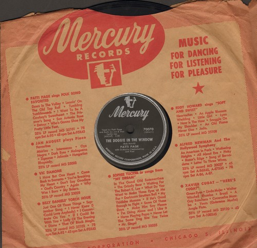 Page, Patti - The Doggie In The Window/My Jealous Eyes (10 inch 78rpm record, NICE condition with Mercury company sleeve) - NM9/ - 78 rpm