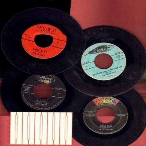 Echoes, Elegants, Phil Philips, Teddy Bears - Dreamy Doo-Wop 4 Pack: 4 vintage first isse 45rpm records, all in very good or better condition, shipped in white paper sleeves and with 5 blank juke box labels. Hit titles include Baby Blue, Little Star, Sea