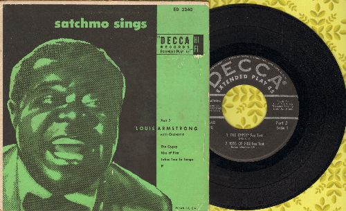 Armstrong, Louis - Satchmo Sings Part 3: Kiss Of Fire/The Gypsy/Takes Two To Tango/If (Vinyl EP record with picture cover) - VG7/VG7 - 45 rpm Records