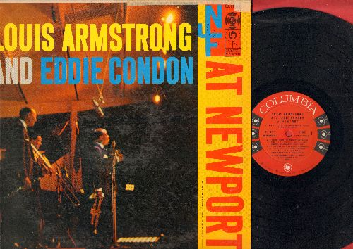 Armstrong, Louis & Eddie Condon - Louis Armstrong & Eddie Candon At Newport: Indiana, A Theme From the Three Penny Opera, Whispering, Struttin' With Some Barbecue (vinyl MONO LP record) - NM9/VG6 - LP Records