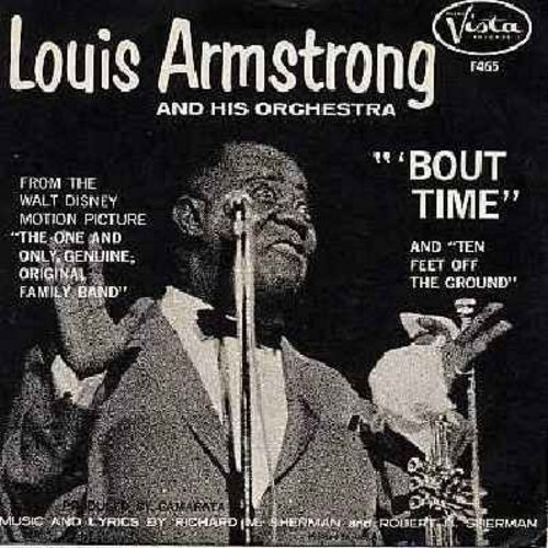 Armstrong, Louis - Bout Time/Ten Feet Off The Ground (both titles from from Walt Disney's film The One And Only Genuine Original Family Band) (with picture sleeve in RARE MINT condition!) - M10/NM9 - 45 rpm Records