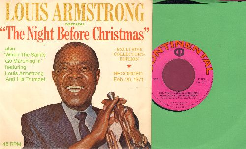 Armstrong, Louis - The Night Before Christmas/When The Saints Go Marching In (Exclusve Collecto's Edition, recorded Feb. 26, 1971, with -sale price- sticker) (with picture sleeve) - EX8/NM9 - 45 rpm Records