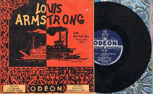Armstrong, Louis & His Hot Five - Louis Arsmtrong with Eral Hines: West End Blues/Fireworks/No Papa No/Tight Like This +4 (10 inch vinyl record with picture cover, 1952 French issue of vintage 1928 Jazz recordings) - VG7/VG6 - LP Records