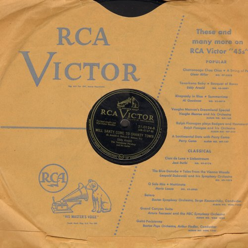 Arnold, Eddy - Will Santa Come To Shanty Town/C-H-R-I-S-T-M-A-S (10 inch 78 rpm record with RCA company sleeve) (wos) - VG7/ - 78 rpm