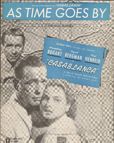 As Time Goes By - As Time Goes By - Vintage SHEET MUSIC for the 1942 Bogart/Bergman Classic -Casablanca- (NICE cover art featuring the stars!) - EX8/ - Sheet Music
