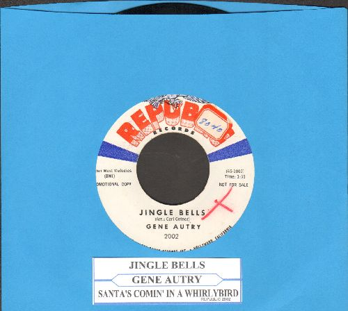 Autry, Gene - Jingle Bells/Santa's Comin' In A Whirlybird (DJ advance pressing with juke box label) - NM9/ - 45 rpm Records