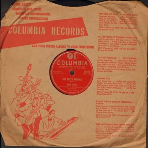 Autry, Gene - God Bless America/Old Soldiers Never Die (10 inch 78rpm record) - EX8/ - 78 rpm