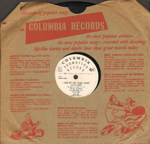 Autry, Gene - Sleigh Ride/I Wish My Mom Would Marry Santa Claus (10 inch 78 rpm record, DJ advance pressing with Columbia company sleeve) - EX8/ - 78 rpm
