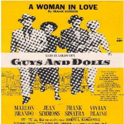 Brando, Marlon & Jean Simmons - A Woman In Love - SHEET MUSIC for the song featured in Broadway Production -Guys And Dolls-  (THIS SHEET MUSIC, NOT ANY OTHER KIND OF MEDIA!) - NM9/ - Sheet Music