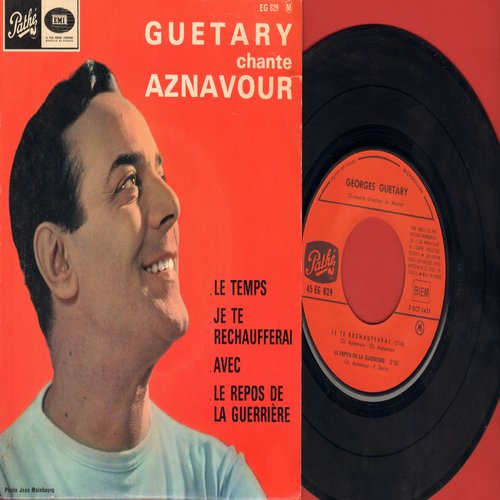 Guetary, Georges - Guetary Chnate Aznavour: Le Temps/Je Te Rechaufferai/Avec/Le Repros De La Guerriere (vinyl EP record with picture cover, French Pressing, sung in French) - EX8/EX8 - 45 rpm Records