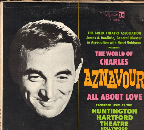 Aznavour, Charles - The World Of Charles Aznavour - All About Love: Le Temps, Que C'est Triste Venise, For Me Formidable, Isabelle, La Mamma (Vinyl MONO LP record, recorded LIVE) - EX8/VG6 - LP Records