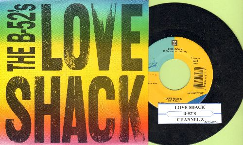 B-52's - Love Shack/Channel Z (with picture sleeve and juke box label) - EX8/NM9 - 45 rpm Records