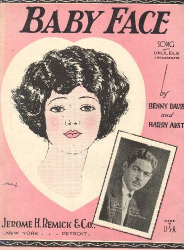 Velazco, Emil - Baby Face - Vintage SHEET MUSIC for the Standard, featuring beautiful cover art with small portrait of celebrated organist Emil Velazco, 1926 Original! - EX8/ - Sheet Music