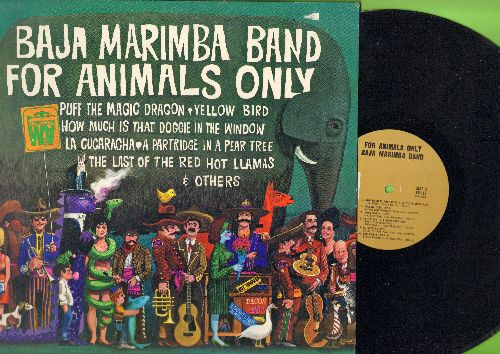 Baja Marimba Band - For Animals Only: Puff The Magic Dragon, Yellow Bird, How Much Is That Doggie In The Window (vinyl MONO LP record) - EX8/EX8 - LP Records